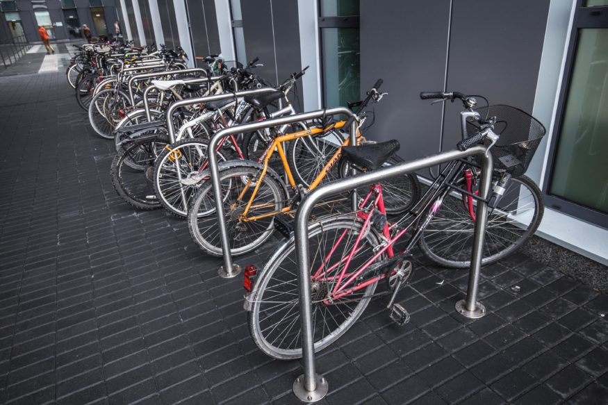 Bicycle parking racks in one of the office centres in Krakow