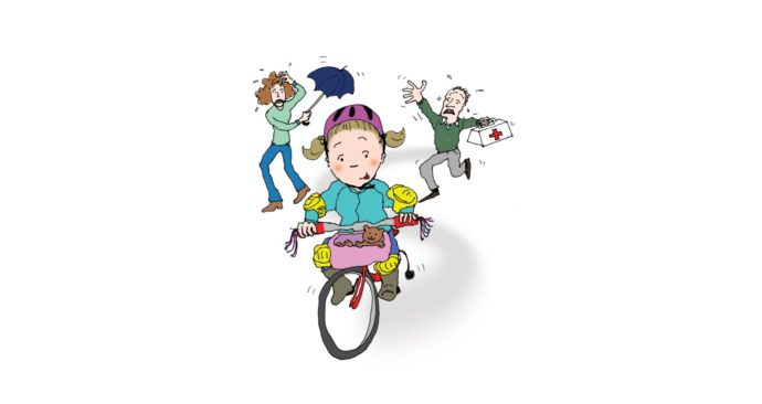 Illustratie van fietsend kind met bange ouders