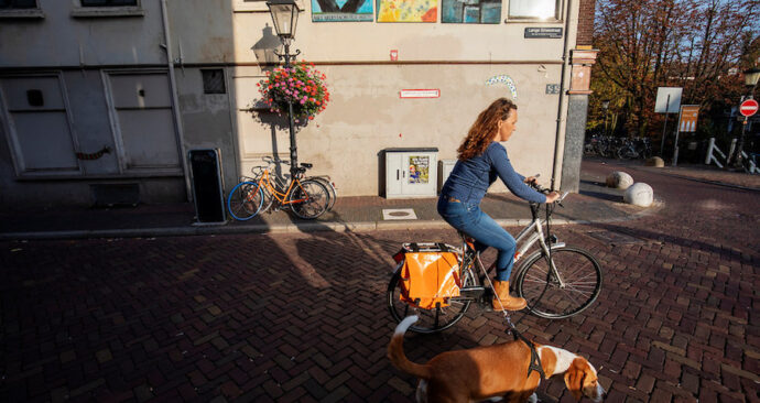 Een vrouw fietst met haar hond aan de lijn door Utrecht.