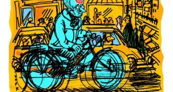 illustratie oudere fietser