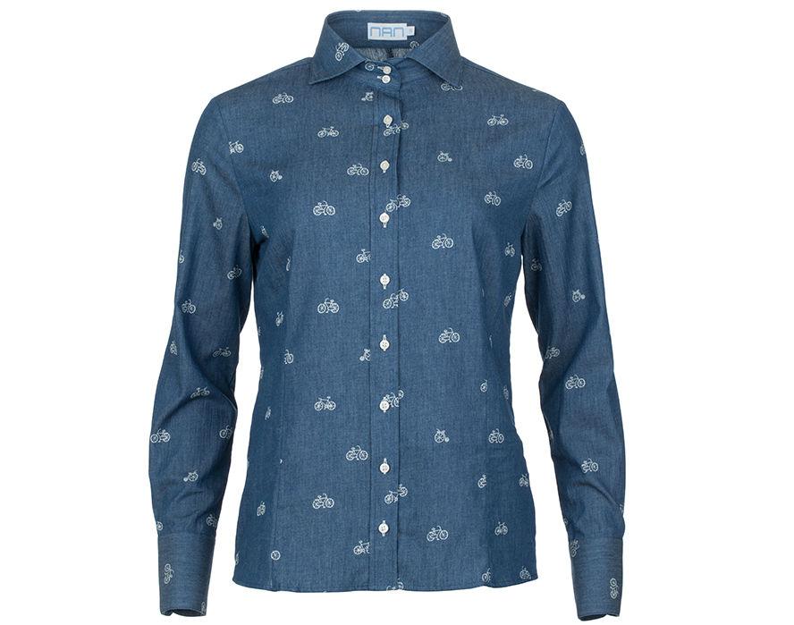 Sjieke blouse met fietsjes en 'jeansfeel'