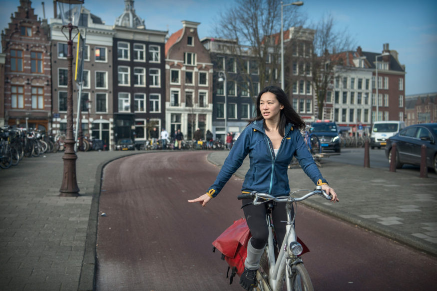 expat op de fiets in Amsterdam, Xin Cheng