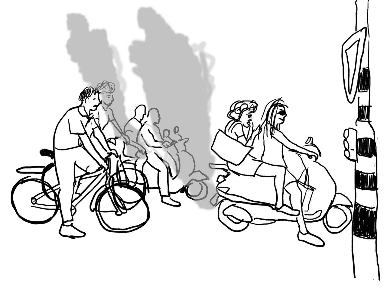 Tekening fietsen in de stad