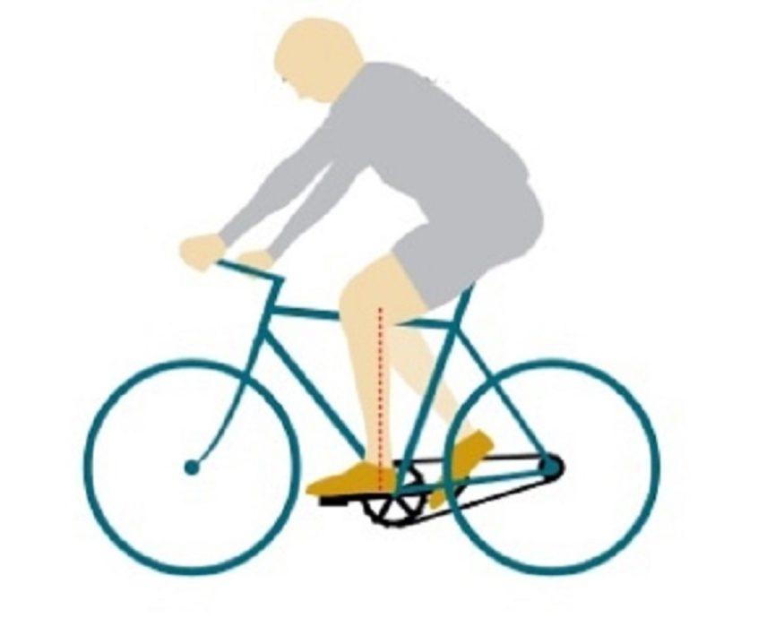 Tekening van juiste houding op de fiets