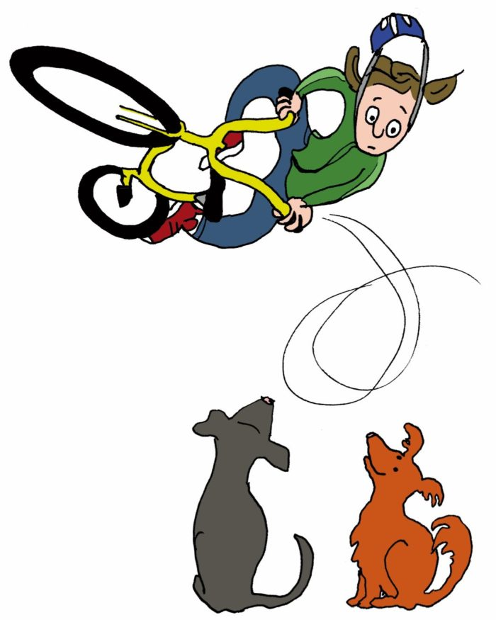 Illustratie van vliegende stuntfietser