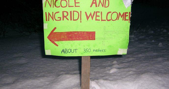 Handgeschreven bordje Welkom Nicole en Ingrid