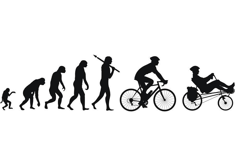 Evolutie van aap tot ligfietser