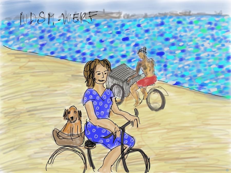 Tekening van vrouw met hondje op de NDSM-werf