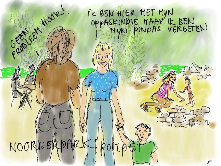 Meisje met oppaskindje in Noorderpark