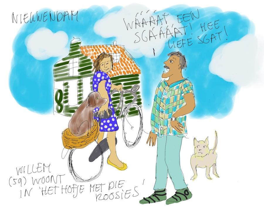 Vrouw met hondje wordt aangesproken door Amsterdammer