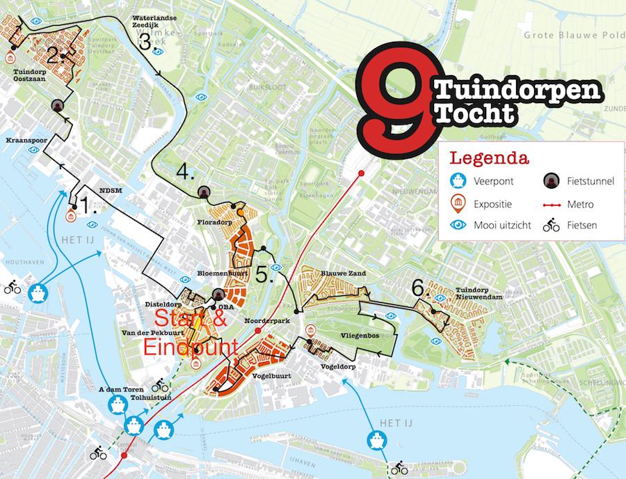 kaartje van de 9 tuindorpentocht