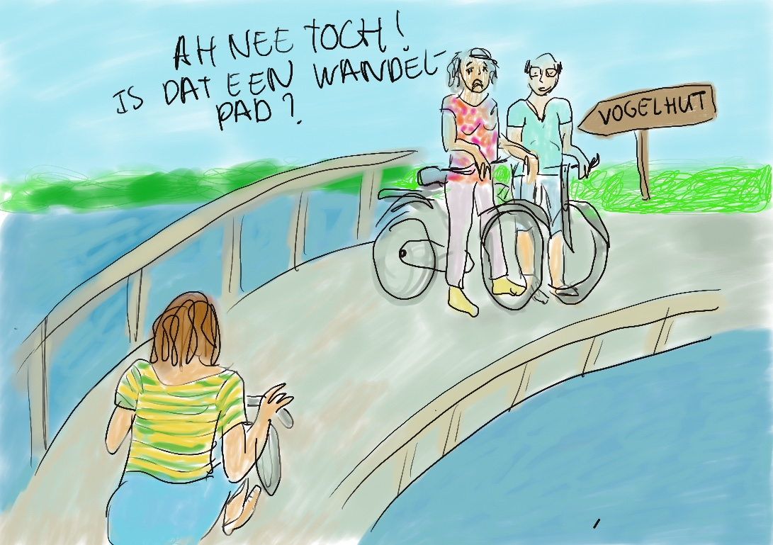 Tekening van fietsers in Zwolle met tekst: 'Ach nee, is dat een wandelpad?!'