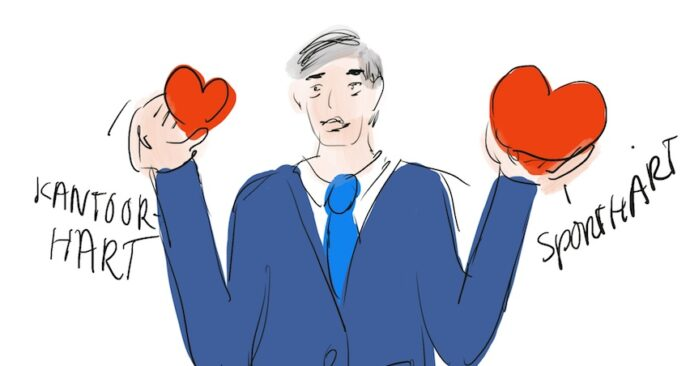 Tekening van een man die een klein hart en een groot hart laat zien