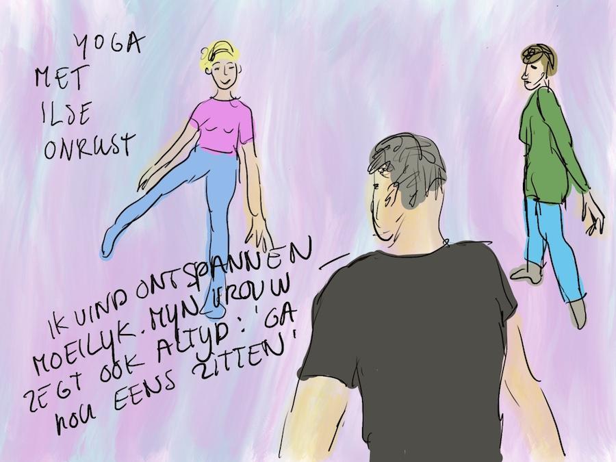 Tekening van yogadocent met cursisten