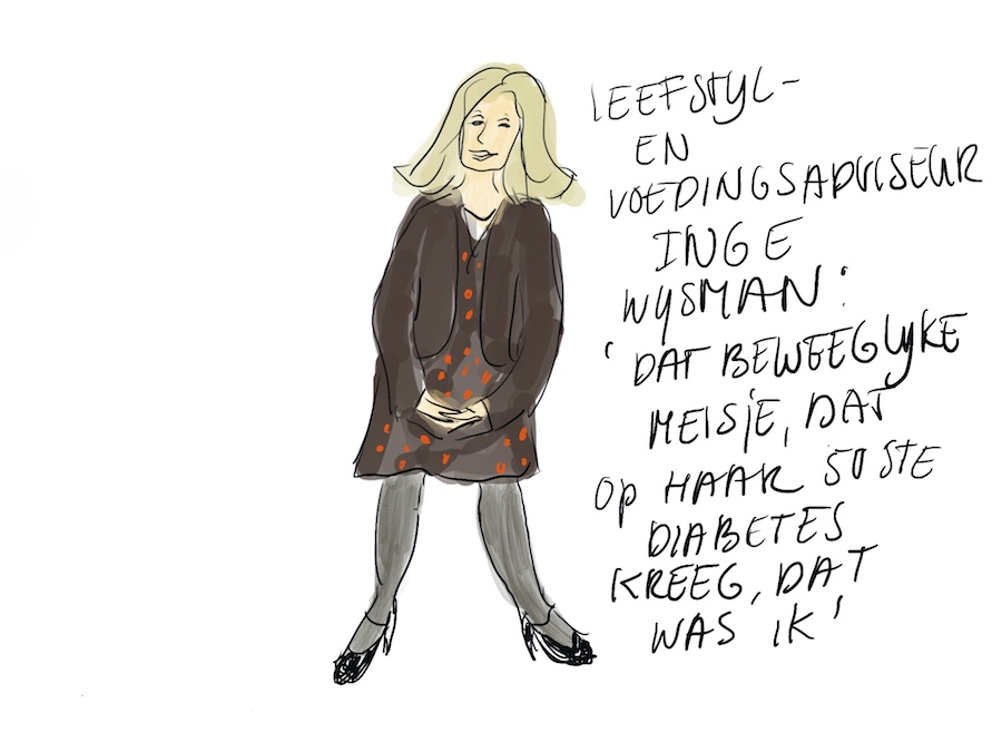 Tekening van Inge Wijsman: zij was vroeger een beweeglijk meisje