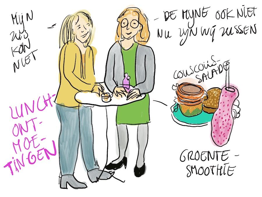 Tekeningen van twee vrouwen die samen lunchen tijdens het symposium