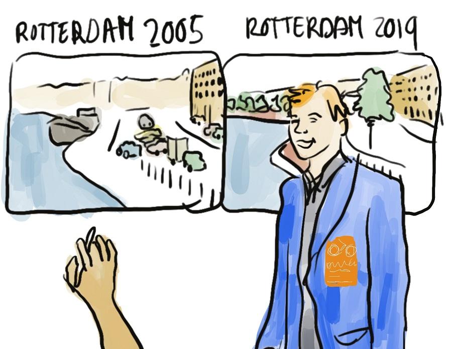 Lucas Harms leidt graag buitenlanders rond in Rotterdam