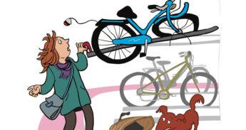 Illustratie met stukke fiets in de fietsenstalling