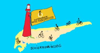 Op een vlag aan de vuurtoren van Schiermonnikoog staat: Beste Fietseiland