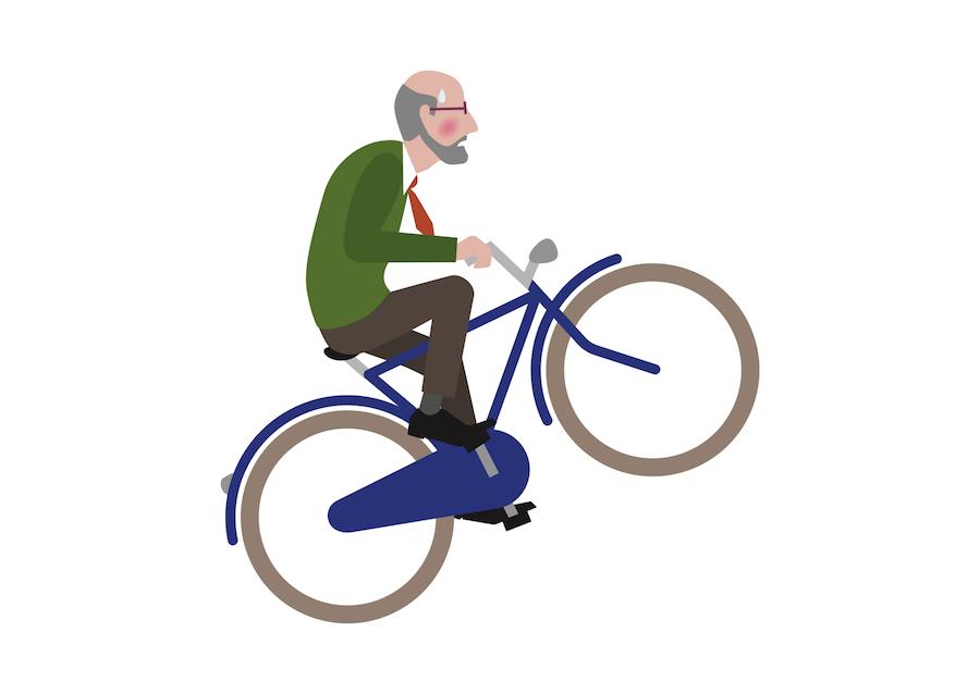 Ploeterende man met baard fietst de heuvel op