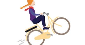 Meisje met vlechtjes op een e-bike