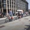 Rij fietsers in Londen