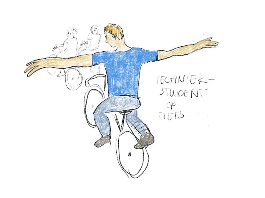 Student doet stationsrondje met armen wijd op de fiets