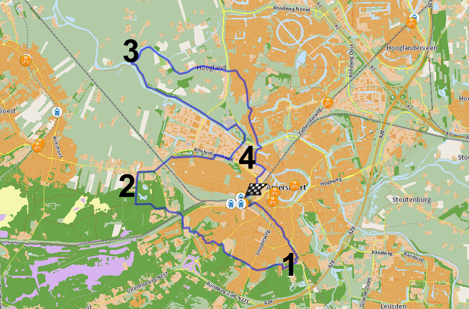 kaart met stationsrondje Amersfoort