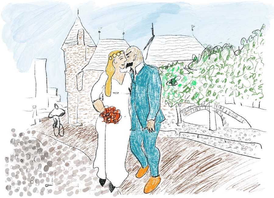 Tekening van bruidspaar voor de Koppelpoort