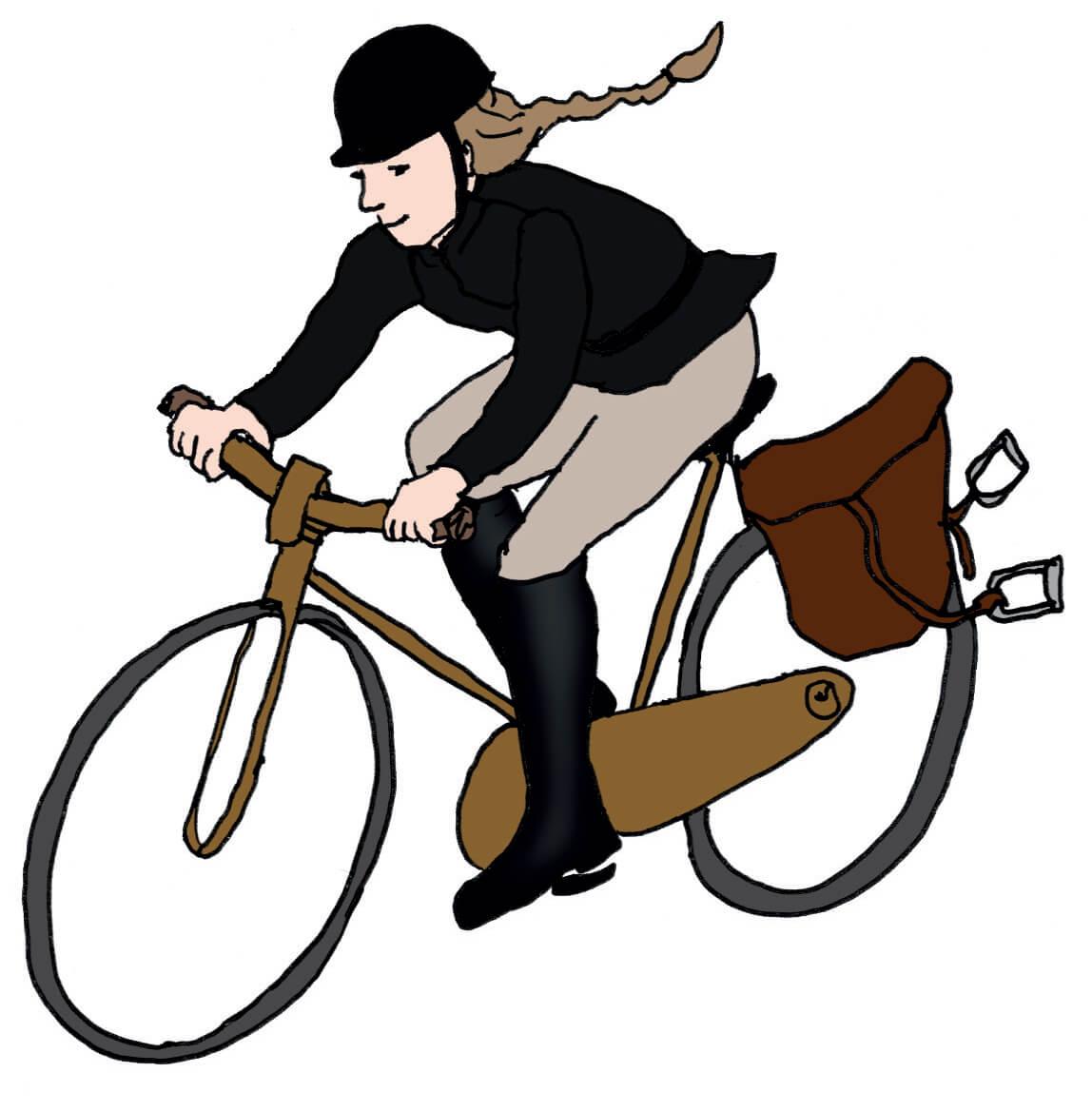Vrouw in paardrijkleding op de fiets
