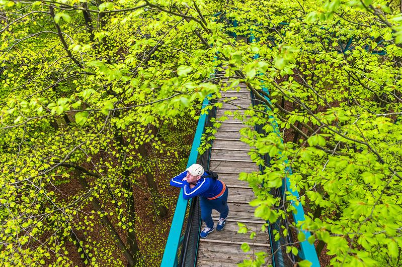 Man leunt tegen ene brugleuning tussen boomtoppen