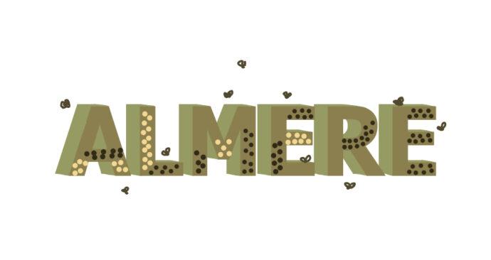 Insektenhotel in de vorm van de letters van Almere