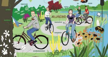 Tekening van fietsende studenten in de natuur