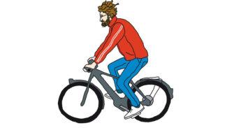 Tekening van TestKees op de fiets