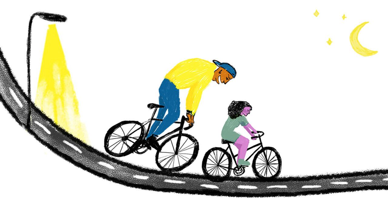 Tekening van grote man die in de nek van een vrouwelijke fietser hijgt