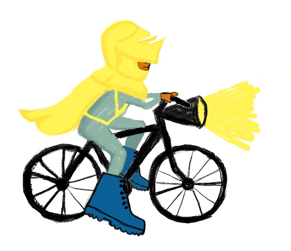 Tekening van geharnaste fietser met zaklantaarn