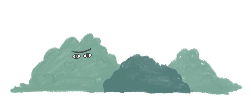 Tekening met Ogen in een groot bosjje