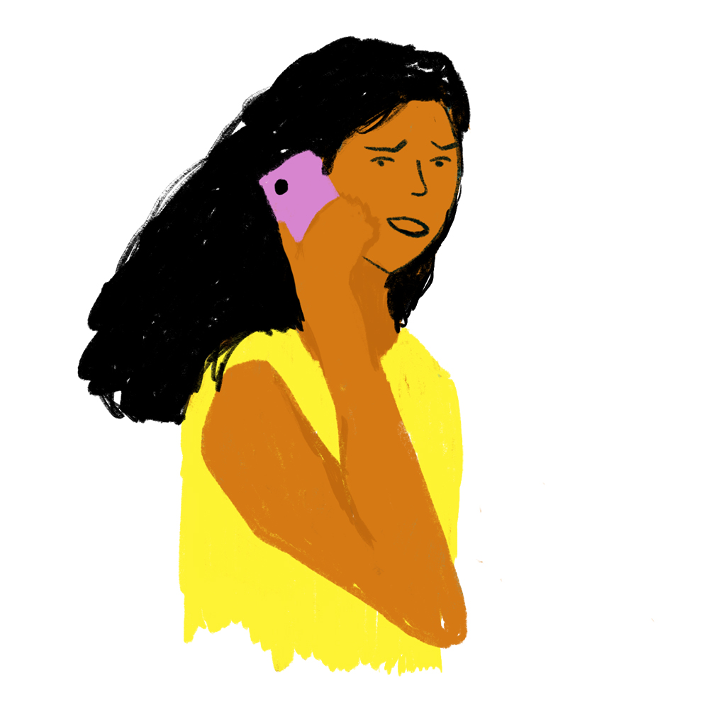 Tekening van Meisje met telefoon aan haar oor
