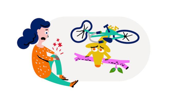 Tekening van vrouw met zere knie naast fiets en beteuterde hond