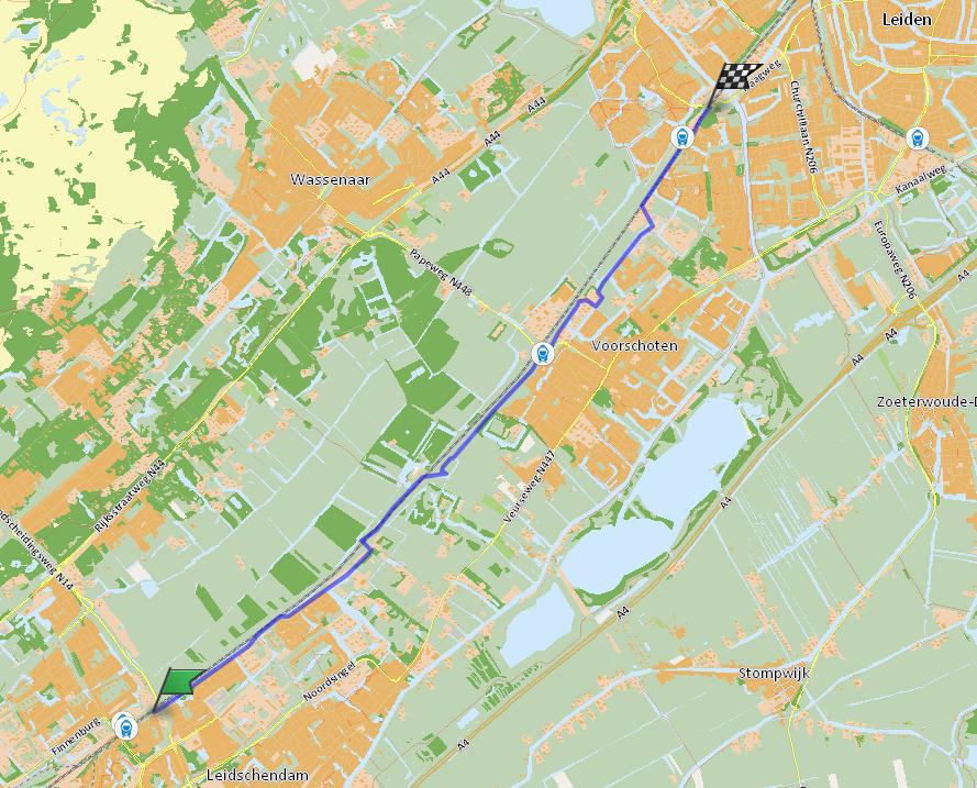 Velostrada de snelfietsroute van Den Haag, via Voorschoten naar Leiden.