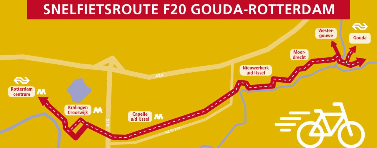 Tracé snelfietsroutes Gouda Rotterdam