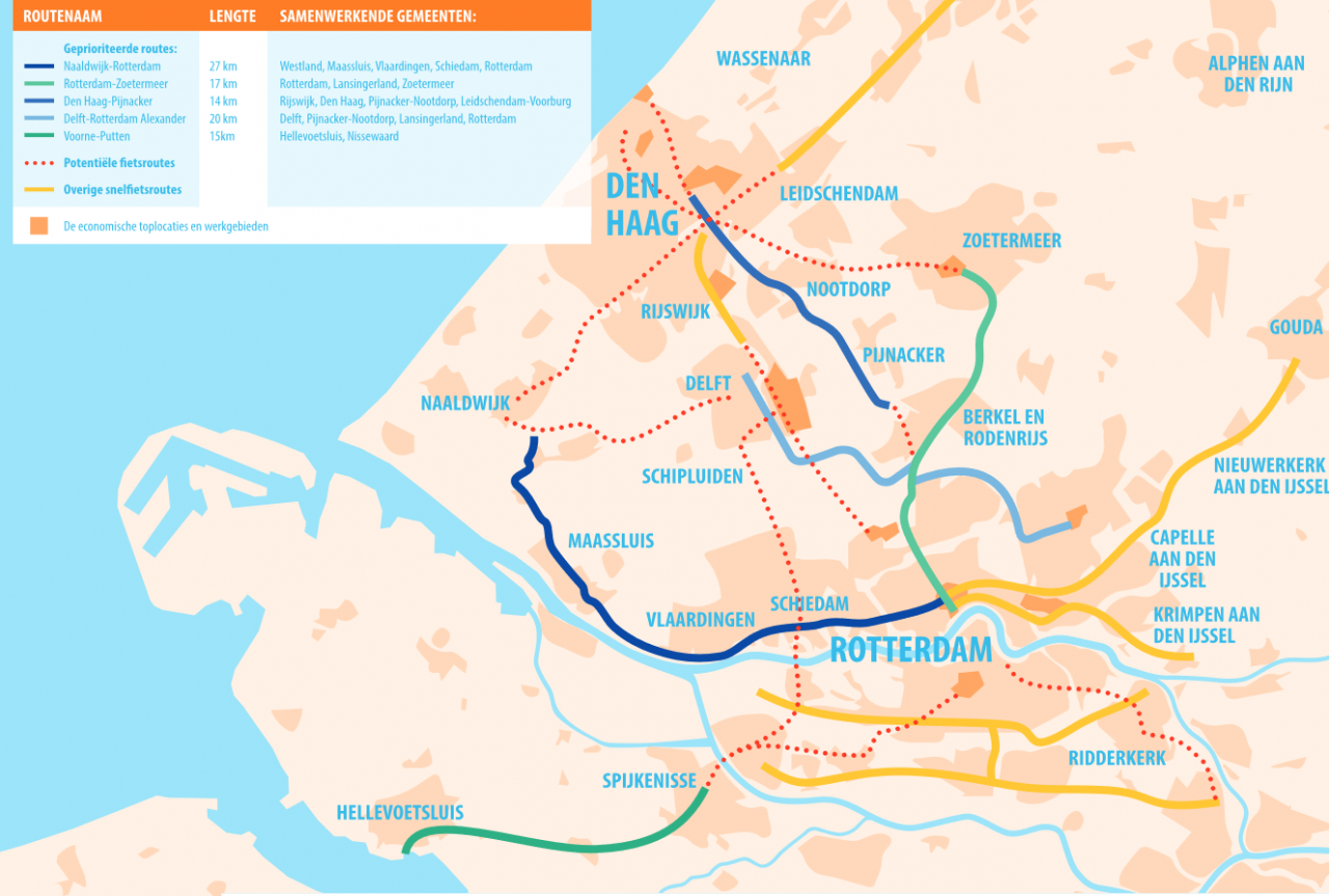 kaart MRDH snelfietsroutes