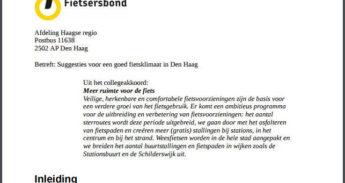 Suggesties voor een goed fietsklimaat in Den Haag p.1