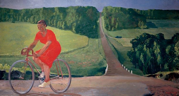 Alexander Deijneka, kolchoze boerin op fiets