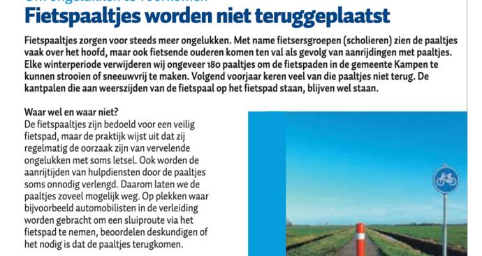fietspaaltjes worden in Kampen niet teruggeplaatst