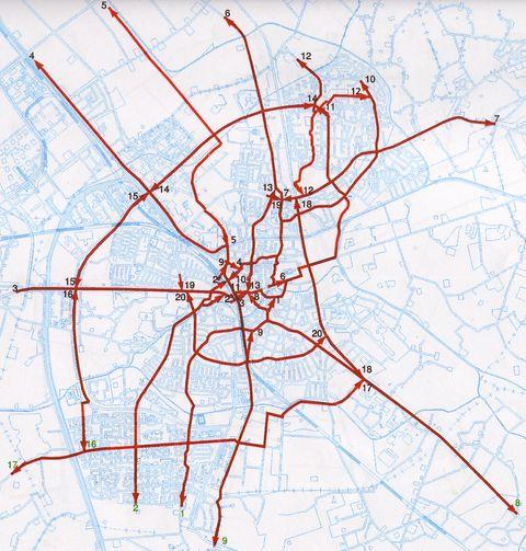 Kaart van de Dragers zoals gepland in 2000