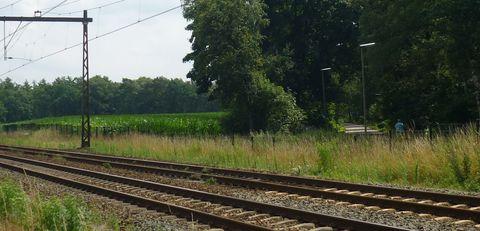 De weg naar Delden ligt aan de overkant van het spoor