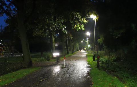 Donkere Nijreesweg met 2 paaltjes en fietser met licht