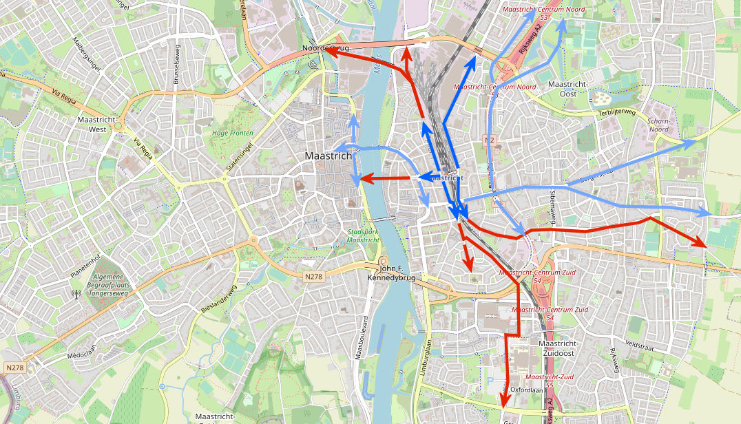 Station Maastricht met radiale routes