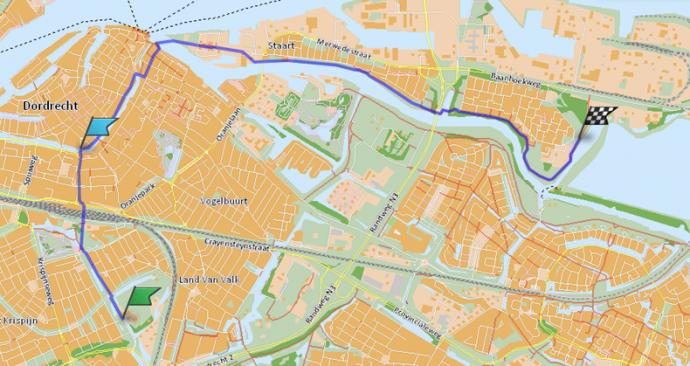 Een nog niet bestaande route tussen de Mauritsweg en het Generaal Spoorpad op de Staart. Gemaakt met de routeplanner van de Fietsersbond.